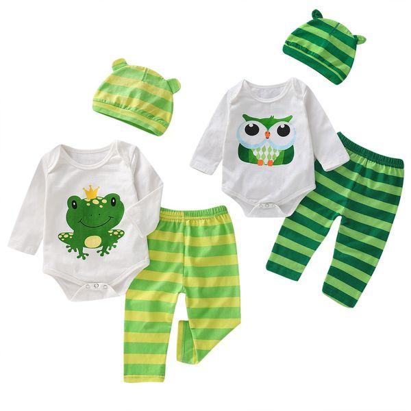 Mikrdoo Toddler Newborn Baby Boys Cute Clothes Set Cartoon Animal Print Long Sleeve Romper Striped Pant Hat 3PCS Outfit