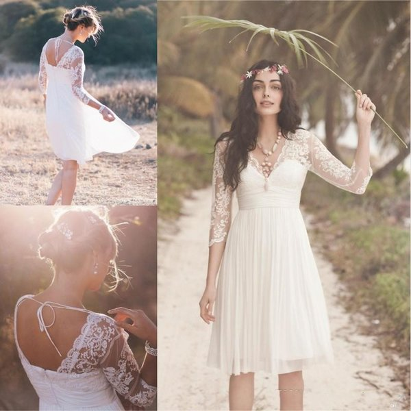2019 Short Lace Boho Wedding Dresses Cheap Sheer 3/4 Long Sleeves V Neck Pleated A Line Knee Length Chiffon Beach Bridal Gowns