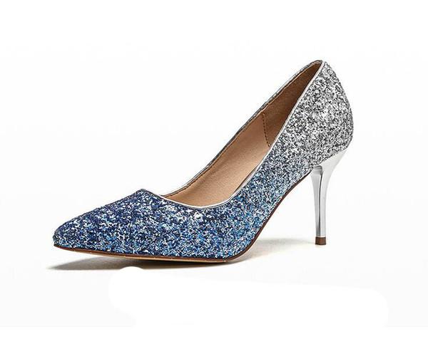2018 New Fashion paillettes talons hauts femmes pompes talon mince classique dégradé couleur bleu violet noir sexy bal chaussures de mariage CX227