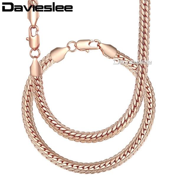 Davieslee Femmes Collier Bracelet Ensemble Curb Cuban Lien Blanc Rose Jaune Or Chaîne Rempli 6mm LGS271A