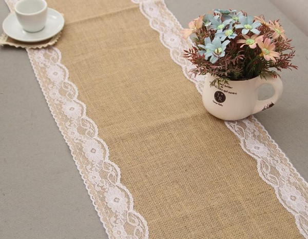 8 pcs A Lot Wedding Christmas High Quality Burlap Lace Linen Table Cloth Table Runner Free Shipping