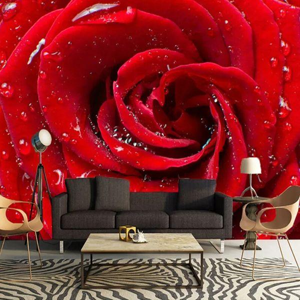 Große Benutzerdefinierte Wandbild 3D Stereo Rosen Blume Tapete Schlafzimmer Wohnzimmer TV Hintergrund Wohnkultur Ehe Zimmer vliestapete