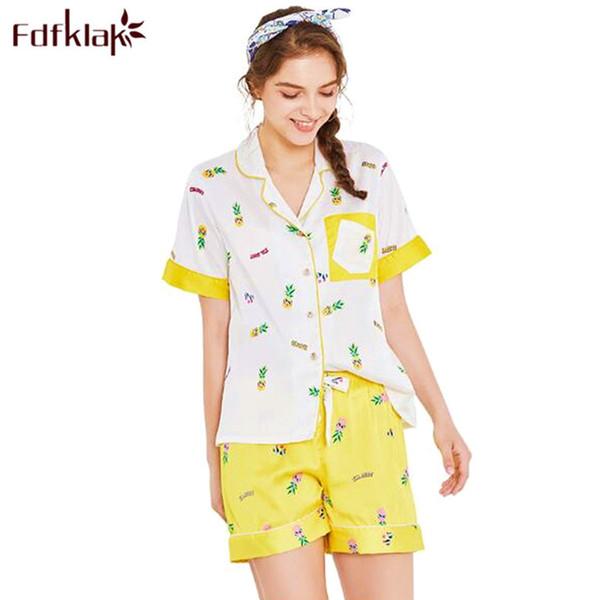 Fdfklak Fresh print summer pyjamas women pajamas set silk satin sleepwear female home clothes student's night wear pijama