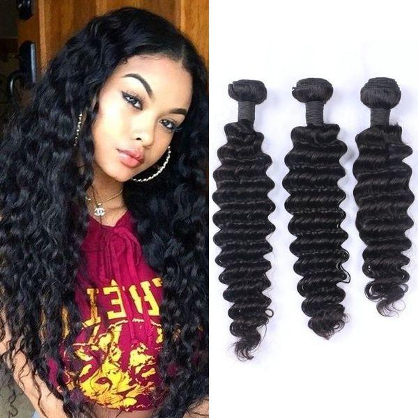 Brazilian Deep Wave Virgin Hair Weave 3 Bundles Natural Color Cheap Brazilian Human Hair Extensions 100g/pc G-EASY