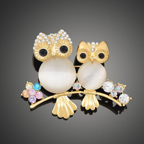 2018 New arrival women lady fashion jewelry alloy owl crystals diamond pins flower brooch Christmas festival gift love