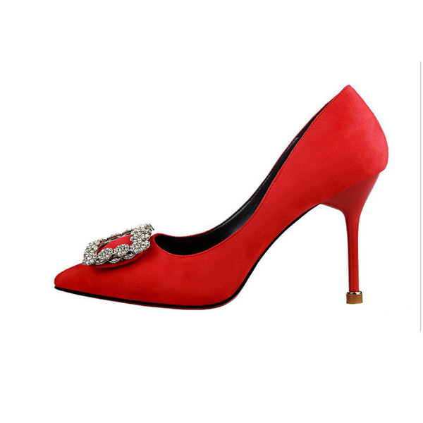 New dress banquet temperament women's shoes stiletto high-heeled shallow mouth suede slim pedicure tip buckle rhinestone wedding shoes