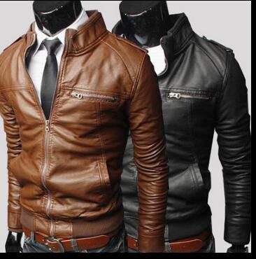 Newest British Motorcycle Leather Jacket Men Classic Design Multi-Zippers Biker Jackets Male Leather Jackets Coats size:S-XXXL