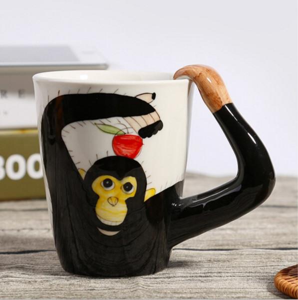 3D Animal Ceramic Cup Hand Painted Creative Coffee Mug Milk Cups Cute Orangutan,Horse,Deer,Cows Ceramic Cup