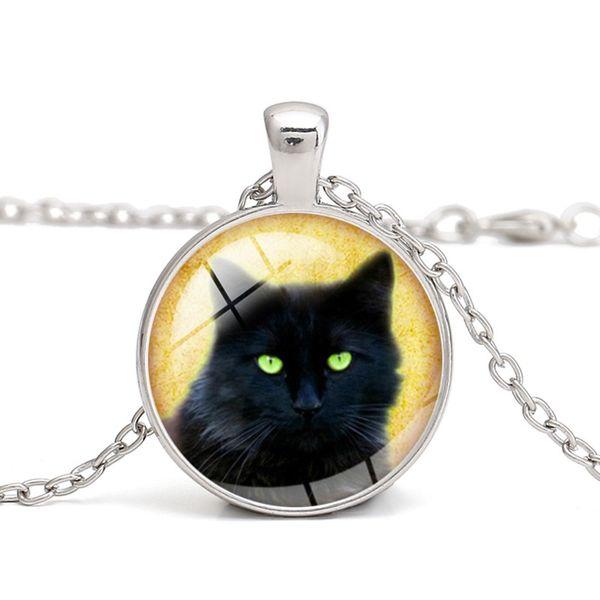 Chat Noir Collier photo dôme en verre noir chaîne collier pendentif en gros