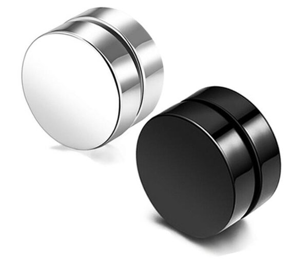 Punk Fake Men Stud Earrings Black Silver Stainless Steel Magnet Round Ear Clip for Men Mix size 6mm 8mm 10mm 12mm