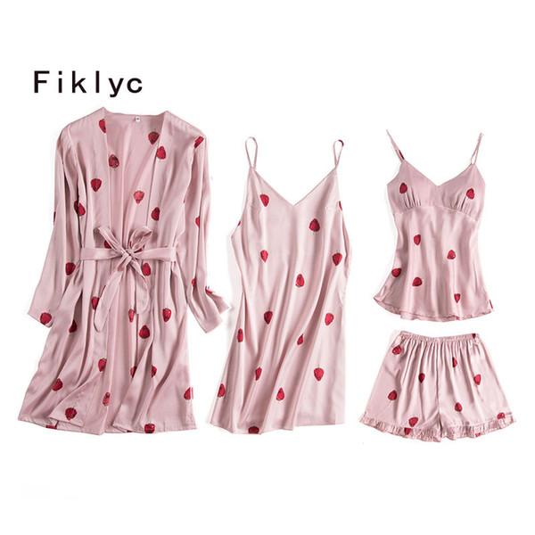 Fiklyc marca cuatro piezas pijamas lindo dulce de las mujeres establece albornoz + camisón + tops pantalones cortos chicas jóvenes ropa de dormir NUEVO