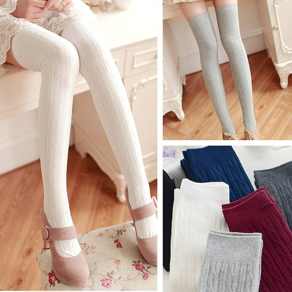 2017 spring new cotton stocking twisted knitting Thigh-Highs over the knee school stocking