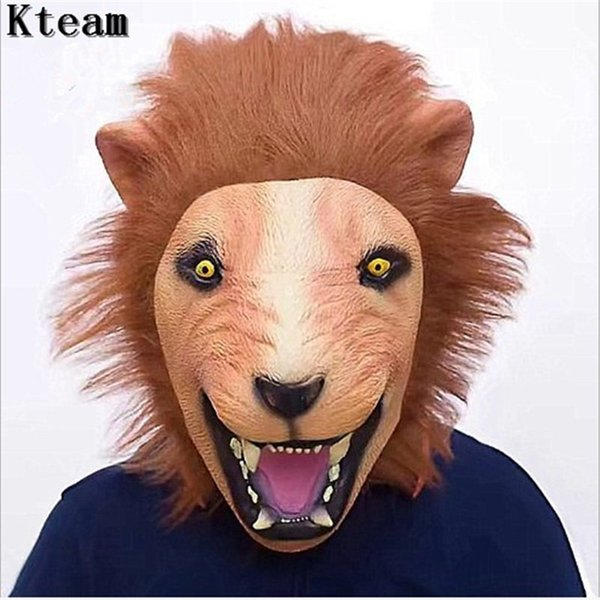 New Realistic 2018 Halloween Horror Scary Lion Mask Full Face Ferocious Angry Lion Head Animal Masquerade Party Silicon Mask