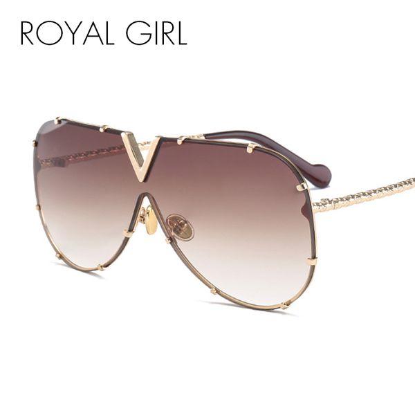 ROYAL GIRL Fashion Sunglasses Hombres Mujeres Marca Diseñador Marco de Metal de Gran Tamaño Personalidad de Alta Calidad UV400 Unisex Gafas de Sol ss678