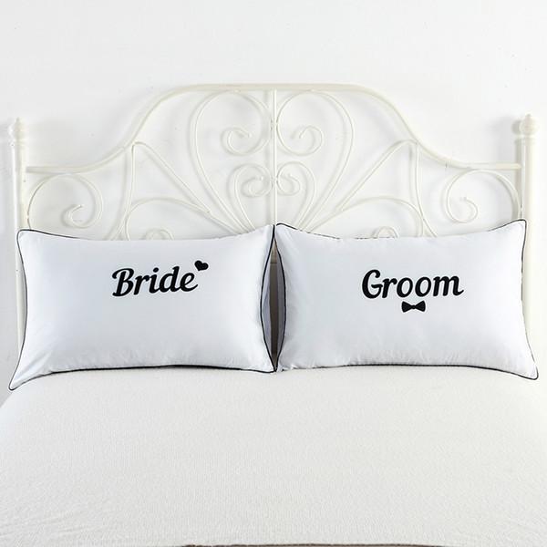 2 adet / grup Standart Çiftler Yastık Kapak Mektup Baskı Beyaz Dekoratif Yumuşak Nefes Yastık Yatak Odası Yatak Ev Otel Yastık Kılıfı için