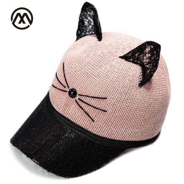 2018 New Sequined Baseball Caps Paillette Bling Shiny Mesh Cat Cartoon Beautiful Adjustable Female Girl Hat Gorras bone