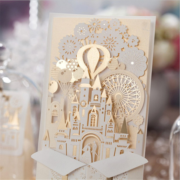 Casamento Castle Elegant Laster Cut Wedding Invitations Cards China Made Party Decorations Supplies