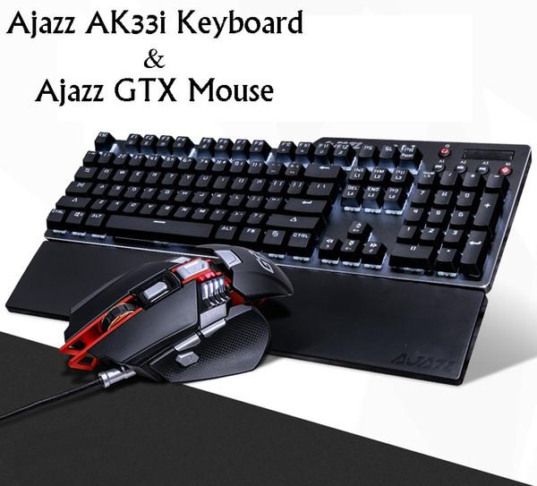Nuovo Ajazz Ak35i Ergonomico USB Wired Tastiera meccanica Retroilluminazione bianca Mechnaical Gaming Tastiera e mouse set con palm rest