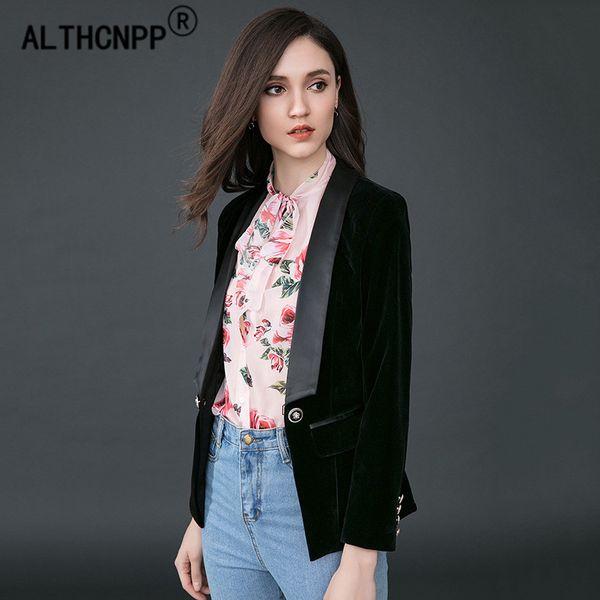 Blazer Feminino Moda Banliyö OL Kadın Blazer Mujer İnce Oldu Ince Uzun Kollu Altın Kadife Takım Elbise Kadın Blazers ve Ceketler