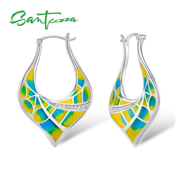 SANTUZZA Earrings for Women Colorful Enamel Women Earrings White Cubic Zirconia CZ Stone Earrings Party Fashion Jewelry HANDMADE C18111901