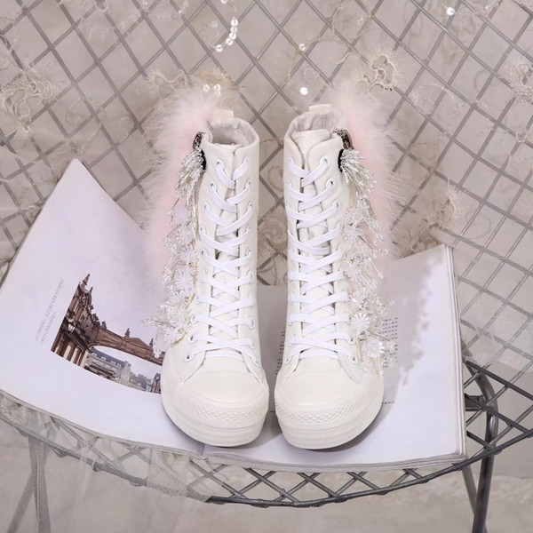 women shoes open of ladies white feather warm waterproof boots Pure color style, various buckle and bag