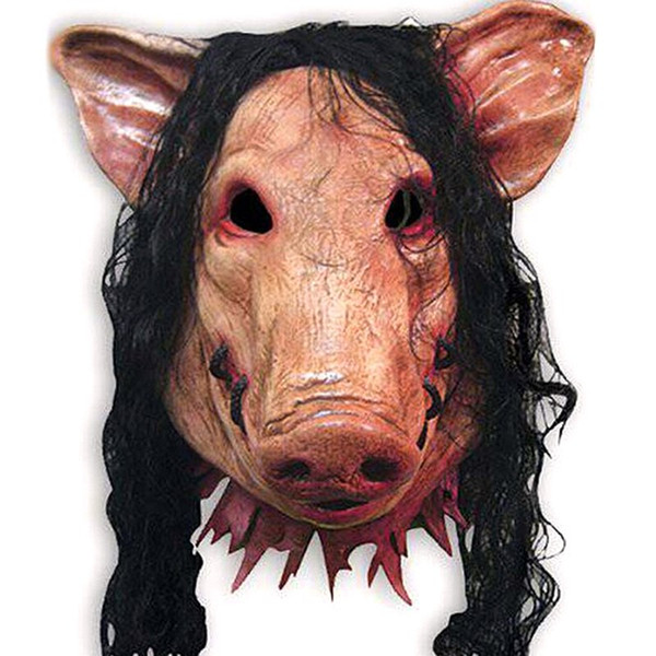 Halloween Party for Full Head Cosplay Costume Moive Tools Saw Adult Animal Scary Masks Pig Head with Black Hair Silicon Masks
