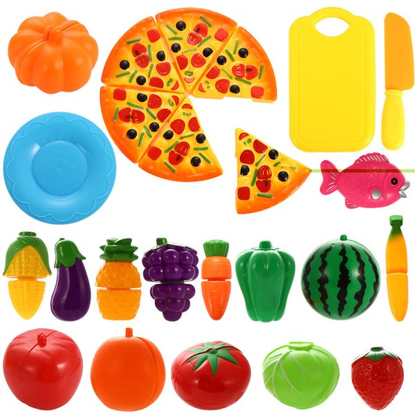 24PCS Plastic Cutting Fruits and Vegetables Set with Pizza Play Food Set for Pretend Play Random allocation