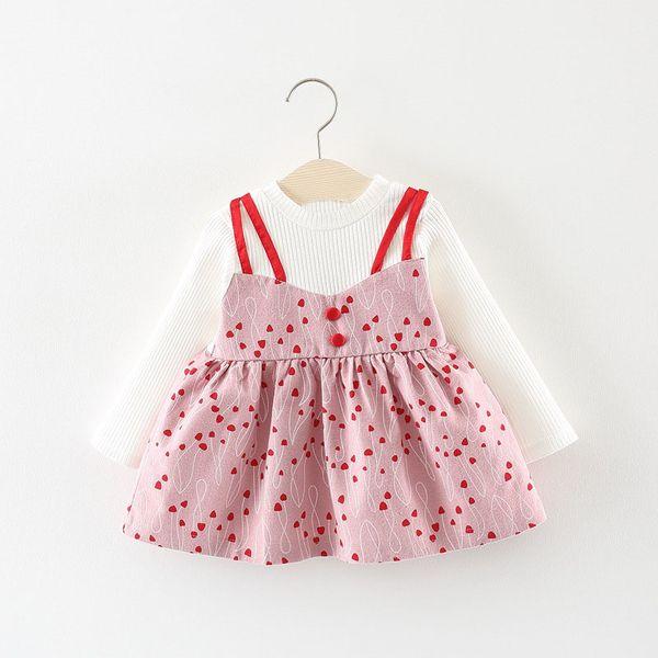 Мода дети осень с длинным рукавом новорожденных девочек дети печатных сердце искусственного 2 шт. партия Принцесса пачка платье Vestidos S7163