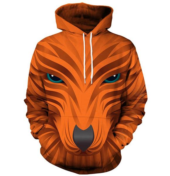 Hot Fashion 3d Sweatshirts Men/Women Hoodies With Hat Print Fox HeadAutumn Winter Loose Thin Hooded Hoody Tops