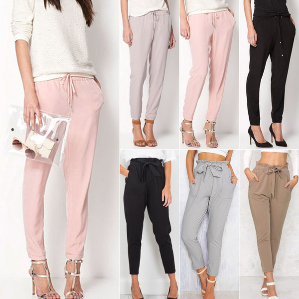 Harem Pants Ladies Chiffon Trousers Drawstring Casual Trousers Belt Slim Pants Feet Female Cropped Pants With Pockets