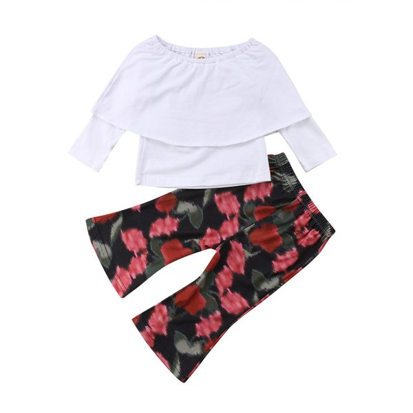 Emmababy 1-5Y Kid Baby Girl Long Sleeve Off Shoulder White t shirt Tops+Floral Flared Pants girls fashion clothes set Outfits