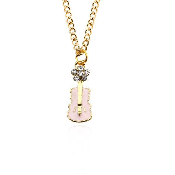 Trendy Guitar Necklace Pendant Cute Metal White Rhinestone Music Violin Charm Necklaces For Women Fashion Female Jewelry Wholesale