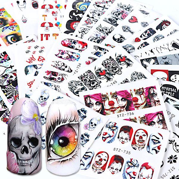 24 pcs Black Skull Prego Wraps Decalques de Água Vermelho Sliders Halloween Eyes Palhaço Zumbi Decoração Manicure Ferramentas Tattoo BESTZ731-755