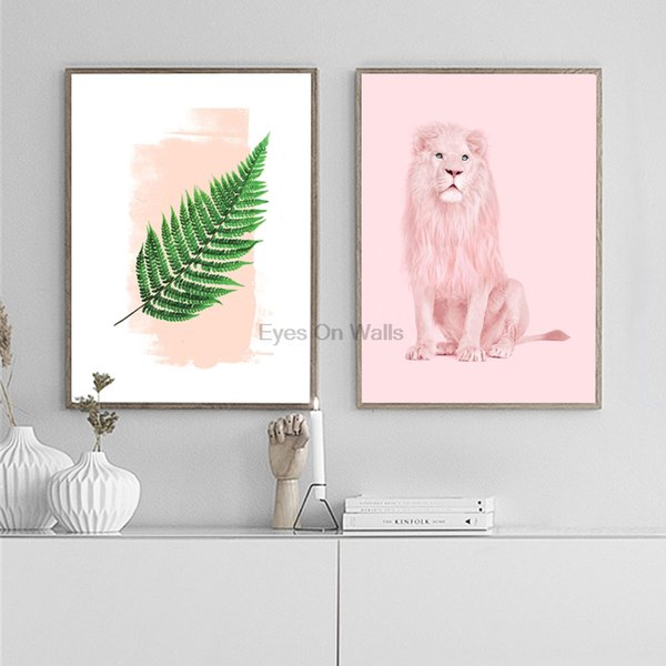 Acheter Rose Lion Nordique Affiche Mur Art Toile Peinture Imprimer Moderne Feuille Scandinave Animal Photo Pour Le Salon Home Office Decor De 2497