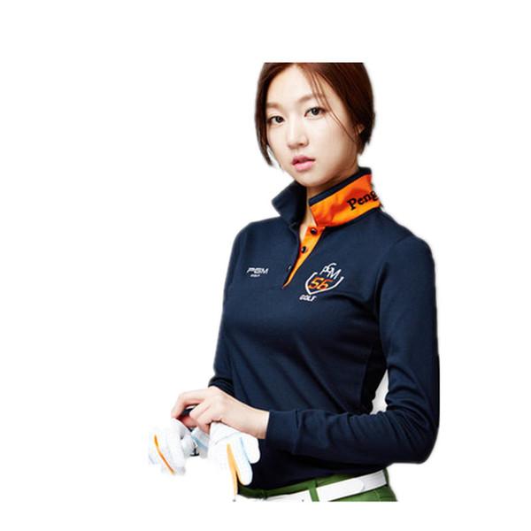 2018 Nuova promozione anti-pilling anti-shrink donne manica lunga golf golf abbigliamento donna Dongkuan coreano a maniche lunghe t-shirt