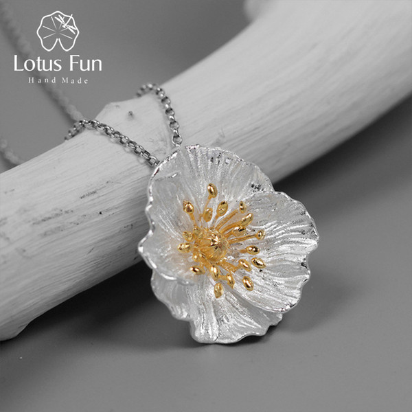 Lotus Fun Real 925 Sterling Silver Handmade Fine Jewelry Blooming Poppies Flower Pendant without Necklace for WomenY1882803