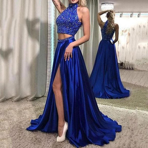Sexy Halter Neck Two Pieces Long Prom Dresses 2018 Sparkly Crystal Beaded Side Split Evening Prom Gowns Formal Party Wear Dress Custom Made