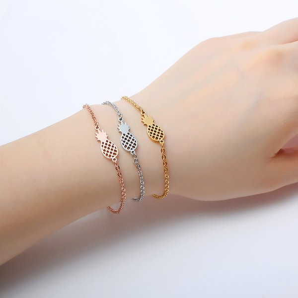 Pineapple Bracelet For Women Dainty Gifts BFF Jewelry 2017 Friendship Stainless Steel Rose Gold Ananas Bracelet Femme