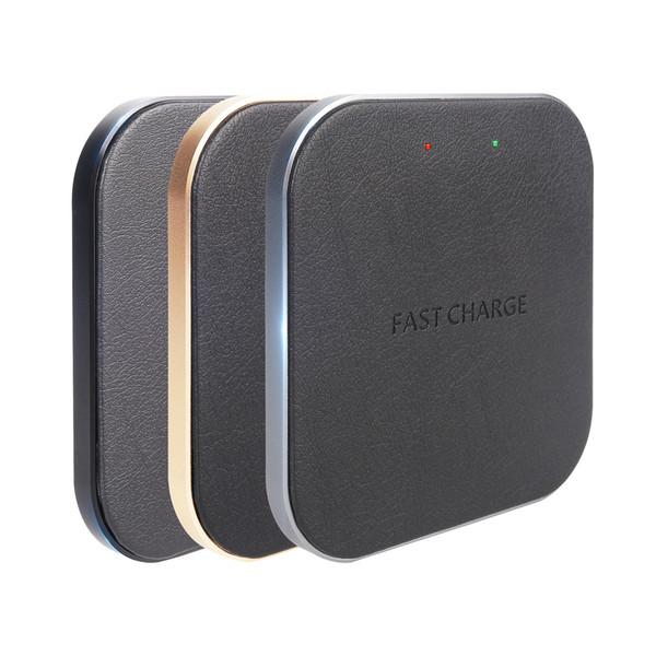 Envío libre de DHL 10W QI Cargador inalámbrico de escritorio de carga rápida con base de cuero antideslizante para Samung s8 IPhone 8/8 Plus X Charger Pad