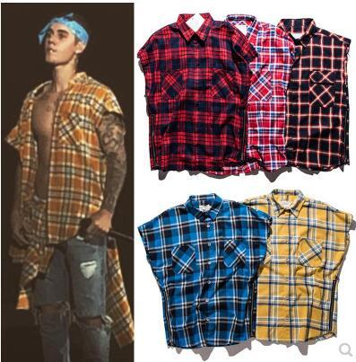 Justin Bieber - Chemise à carreaux sans manches avec fermeture éclair sur le côté - Marque européenne et américaine de la marée - Lâche - Cardigan lâche