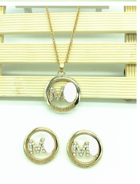 Crystal Diamond M Letter Necklace Earrings Sets Gold Chain Necklace for Women Fashion Wedding Jewelry Sets Gift Drop Shipping 3 color