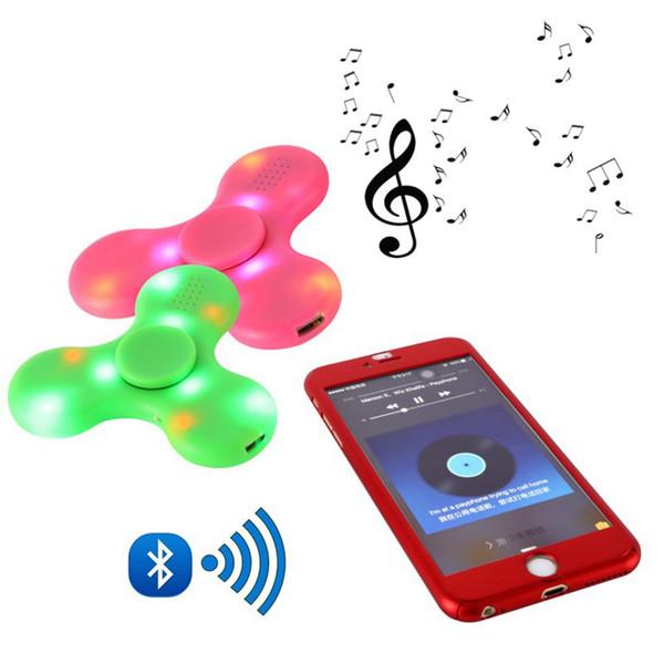 Neue Bluetooth Musik Hand Spinner 4 Farben LED Licht zappeln Spinner gebaut in Bluetooth Lautsprecher Fingertip LED Spinner 5pcs geben Schiff frei