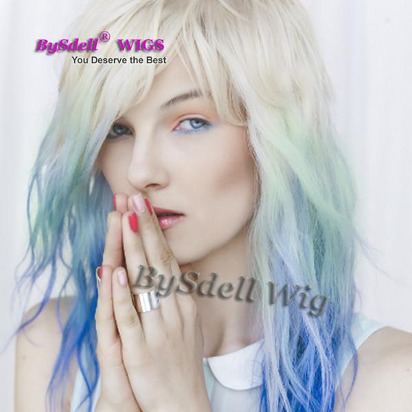 peluca de pelo medio sexy peluca sintética blanca beige amarillento ombre azul claro a color azul oscuro pelucas delanteras de encaje para mujer blanca