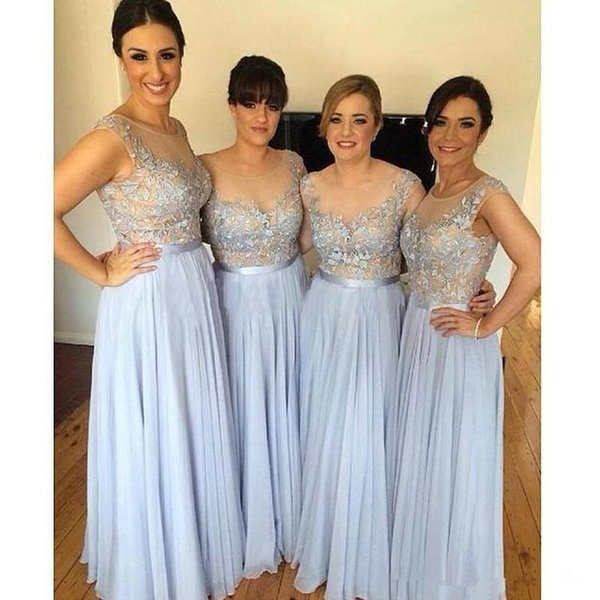 Fashion Chiffon Lavender Lilac Long Bridesmaid Dresses Sheer Lace Scoop Neckline Bridesmaid Dress Women Formal Evening Dresses Gowns