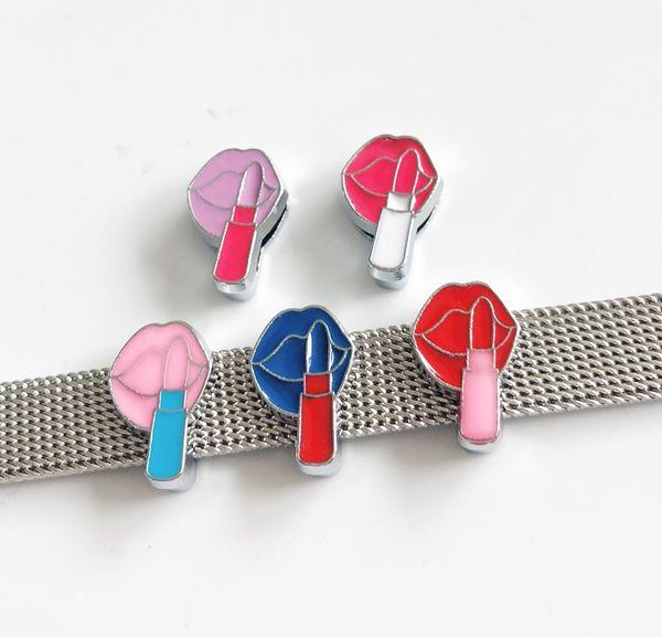 10 stücke 8 MM Emaille Bunte Lippenstift Diacharme Perlen DIY Zubehör Fit 8mm Kragen Gürtel Armbänder Tags