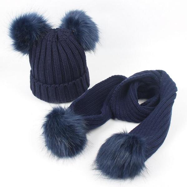 Kids Hat Scarf Set Winter Soild Color Fashion Knit Warm Beanie Hat Cold Weather Cap Scarf Set Gift For Kids 7 Colors
