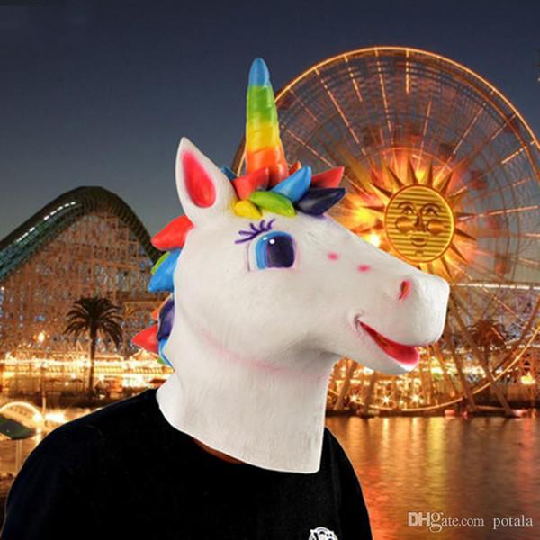 Rainbow Horse Unicorn Mask Hot Mask Full Face Halloween Novelty Creepy Head Latex Costume Theater Prop Party Mask Christamas Xmas cosplay