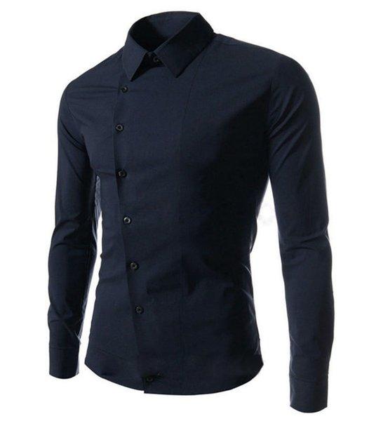 Spring Fashion New Casual Shirts Men Korean Slim Design Side Button Long Sleeve Shirts Free Shipping