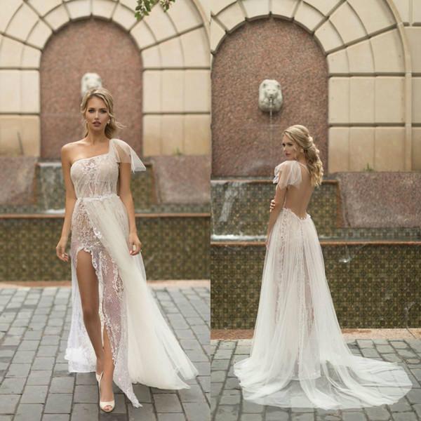Sexy One Shoulder 2018 Wedding Dress High Side Split Lace Applique Beads Bridal Gowns Backless Boho Wedding Dresses