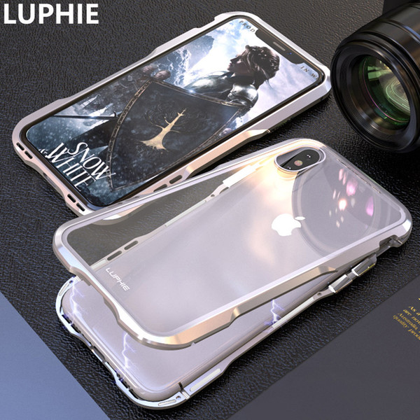 For iPhone XS Max Cover Case Luxury Hard Magnetic Metal Aluminum Alloy Transparent Glass Armor Protect Phone Case for iPhone XR